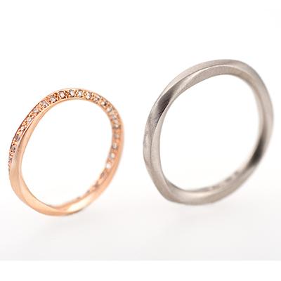 hum 結婚指輪 シンプル アンティーク ストレート エタニティ イエローゴールド ホワイトゴールド ピンクゴールド