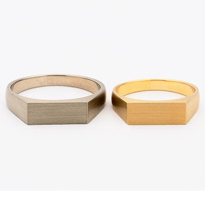 SHIHARA シハラ 結婚指輪 シンプル アンティーク 個性派 ストレート イエローゴールド
