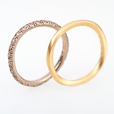 hum 結婚指輪 シンプル 個性派 ストレート エタニティ イエローゴールド ピンクゴールド