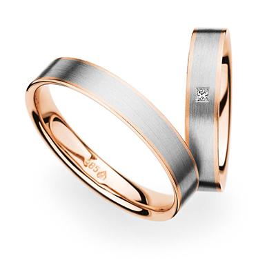 241271 結婚指輪 シンプル 個性派 ストレート 幅広 ホワイトゴールド ピンクゴールド