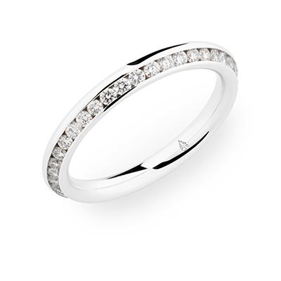 246843 婚約指輪 シンプル エレガント ストレート エタニティ ホワイトゴールド
