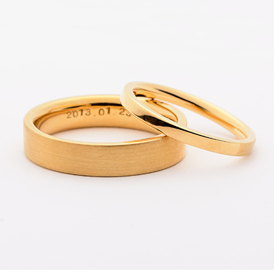 SHIHARA シハラ  結婚指輪 シンプル アンティーク ストレート イエローゴールド
