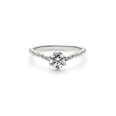 ALBA 婚約指輪 エレガント V字(ウェーブ) エタニティ プラチナ