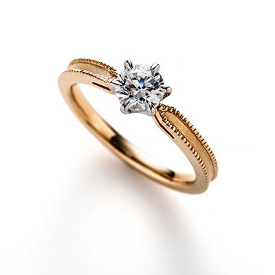 cerca 婚約指輪 シンプル アンティーク ストレート イエローゴールド