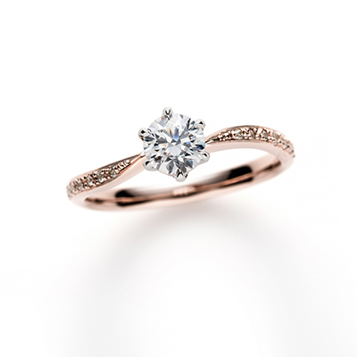 Franc Boise Sour 婚約指輪 エレガント キュート S字(ウェーブ) エタニティ プラチナ ピンクゴールド