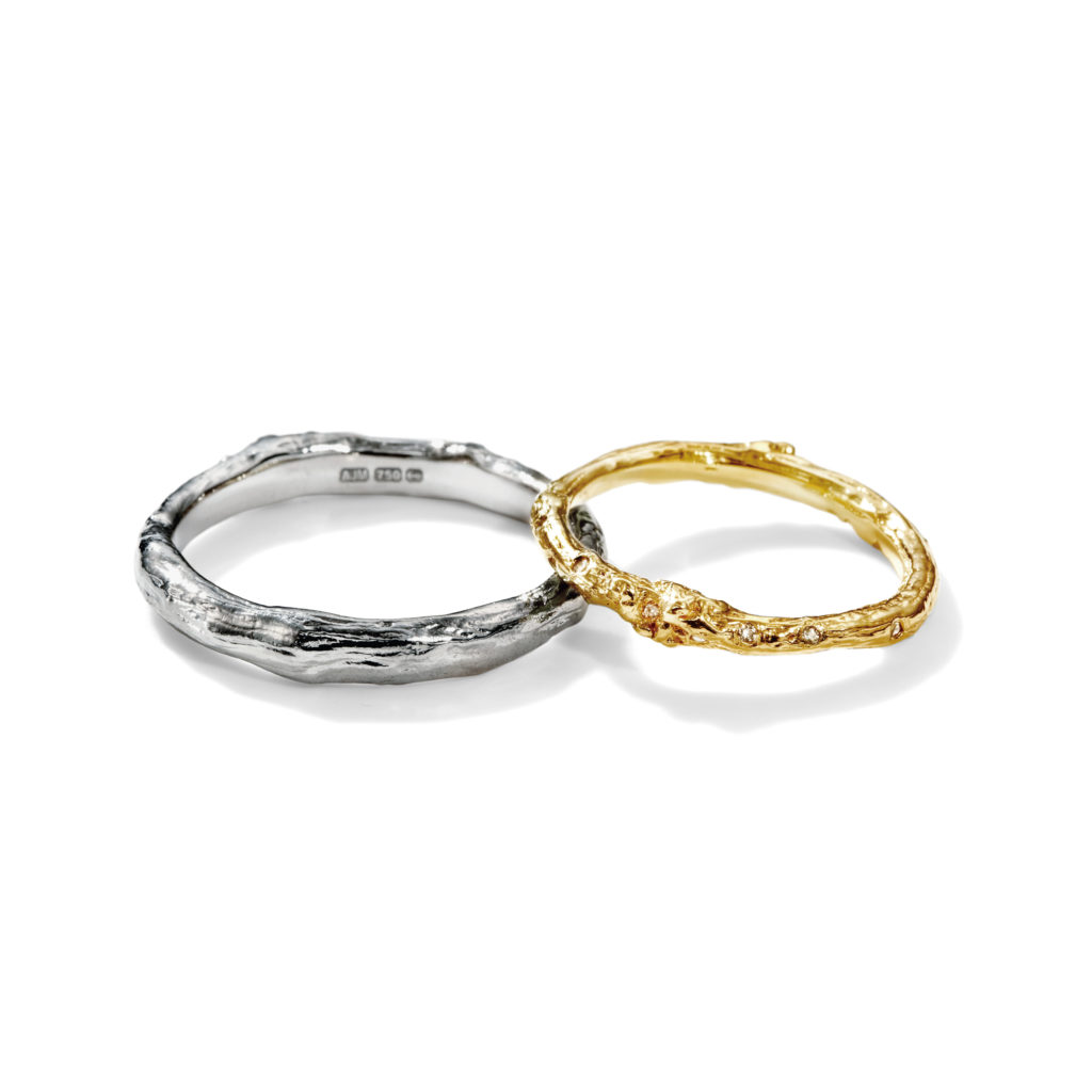 Alex Monroe 結婚指輪 シンプル 個性派 ストレート プラチナ イエローゴールド ホワイトゴールド