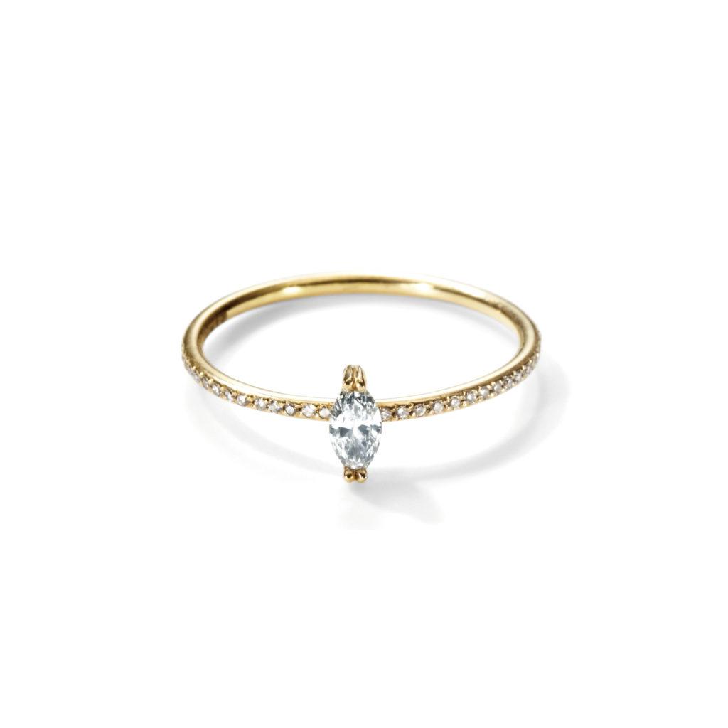 Sweet Pea 婚約指輪 シンプル エレガント アンティーク キュート 個性派 ストレート イエローゴールド ホワイトゴールド