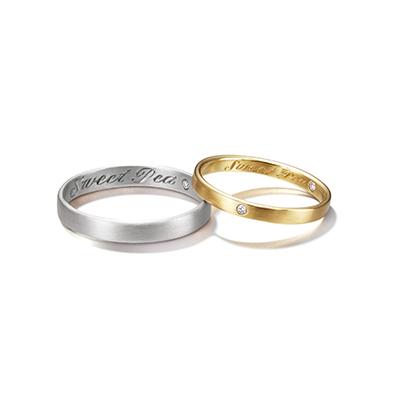 Sweet Pea 結婚指輪 シンプル アンティーク 個性派 ストレート イエローゴールド ホワイトゴールド