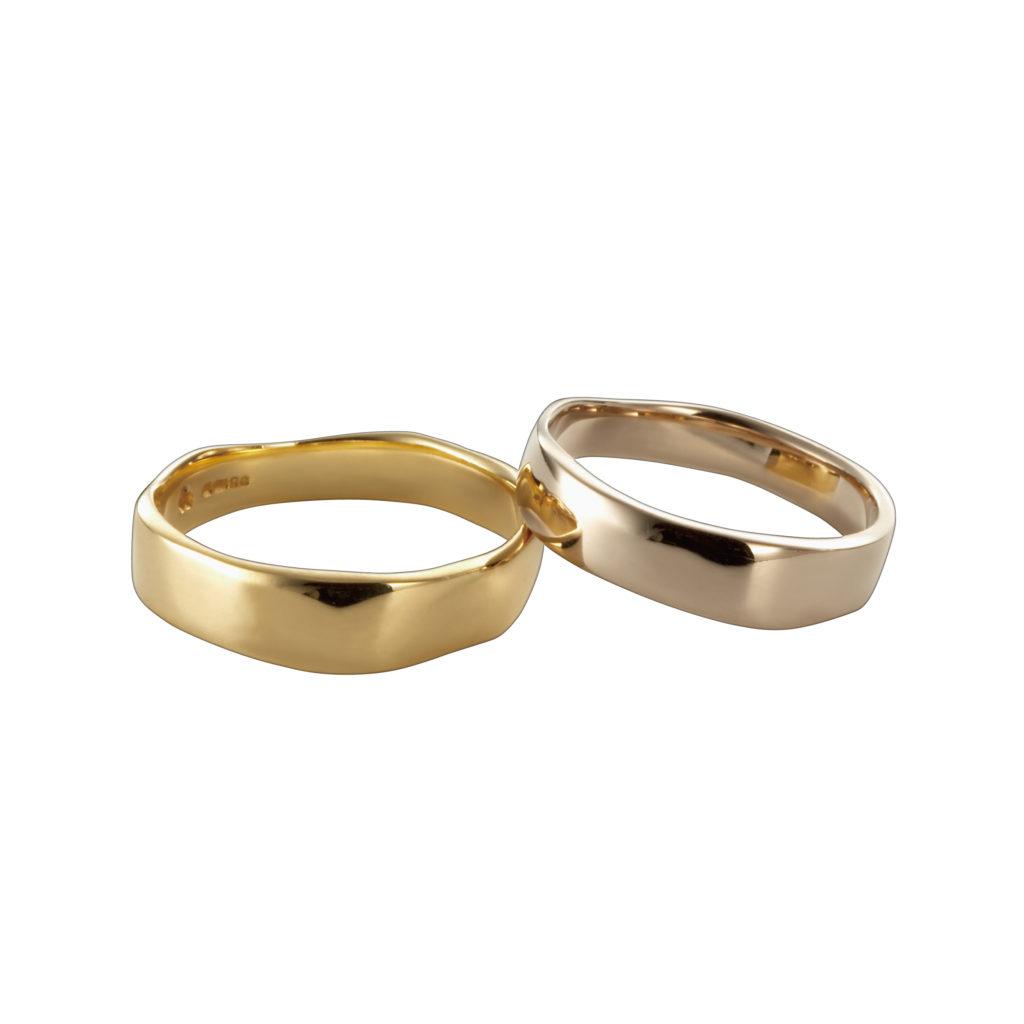 Corinne Hamak 結婚指輪 シンプル アンティーク 個性派 S字(ウェーブ) イエローゴールド ホワイトゴールド