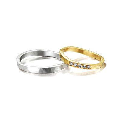 CORINNE HAMAK 結婚指輪 シンプル アンティーク 個性派 ストレート イエローゴールド ホワイトゴールド