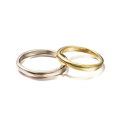 CORINNE HAMAK 結婚指輪 シンプル アンティーク 個性派 ストレート S字(ウェーブ) イエローゴールド ホワイトゴールド