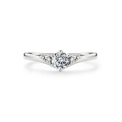Sparkle 婚約指輪 エレガント 個性派 V字(ウェーブ) プラチナ