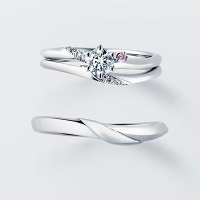 Lavender 婚約指輪 セットリング シンプル S字(ウェーブ) プラチナ