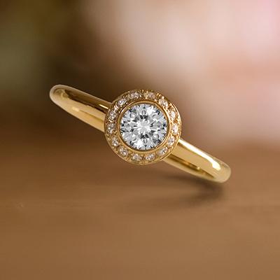 Lumière-d'été 婚約指輪 アンティーク 個性派 ストレート イエローゴールド