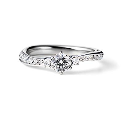 Gentle 婚約指輪 シンプル エレガント S字(ウェーブ) プラチナ