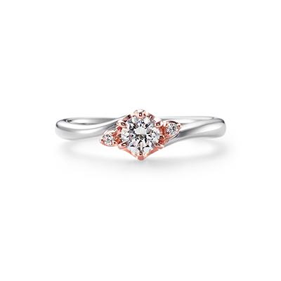 HONEY 婚約指輪 エレガント キュート 個性派 S字(ウェーブ) プラチナ ピンクゴールド