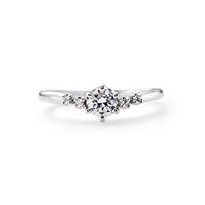 PLUME 婚約指輪 エレガント 個性派 S字(ウェーブ) プラチナ