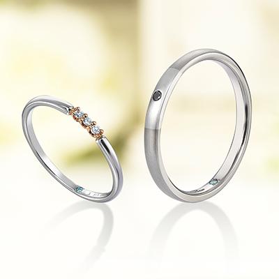 plus-un・trois 結婚指輪 エレガント ストレート プラチナ コンビ
