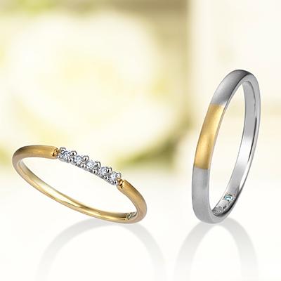 cinq・plus 結婚指輪 シンプル 個性派 ストレート プラチナ イエローゴールド コンビ