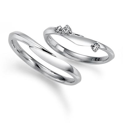 Trèfle 結婚指輪 セットリング キュート 個性派 S字(ウェーブ) プラチナ