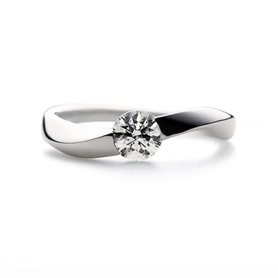mouuse 婚約指輪 シンプル S字(ウェーブ) プラチナ