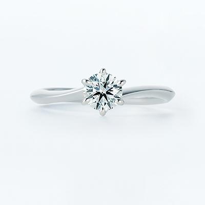 Canobus 婚約指輪 シンプル エレガント S字(ウェーブ) プラチナ