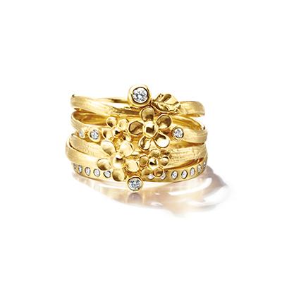 Alex Monroe 婚約指輪 結婚指輪 セットリング 個性派 ストレート イエローゴールド