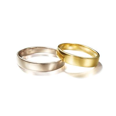 CORINNE HAMAK 結婚指輪 シンプル アンティーク 個性派 ストレート 幅広 イエローゴールド ホワイトゴールド