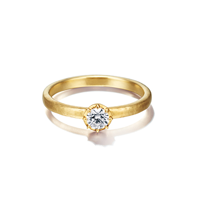 chigo 婚約指輪 シンプル アンティーク ストレート イエローゴールド