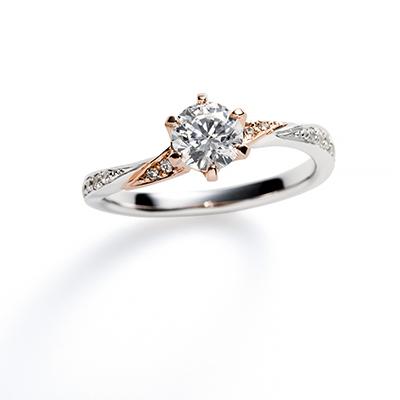 Martini 婚約指輪 シンプル エレガント S字(ウェーブ) プラチナ コンビ