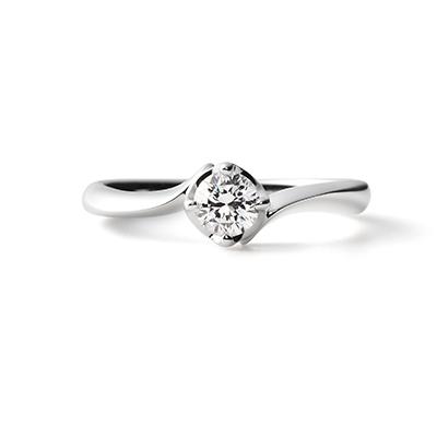 Honesty 婚約指輪 シンプル エレガント S字(ウェーブ) プラチナ