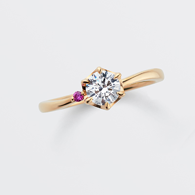 bisou 婚約指輪 エレガント キュート S字(ウェーブ) イエローゴールド