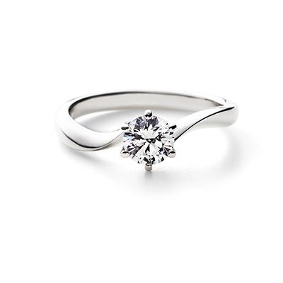 NOCTURNE 婚約指輪 シンプル S字(ウェーブ) プラチナ