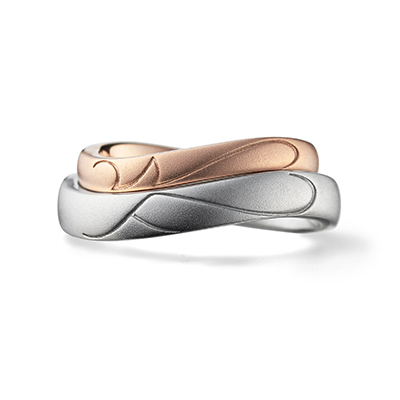 initial 結婚指輪 シンプル S字(ウェーブ) プラチナ ピンクゴールド