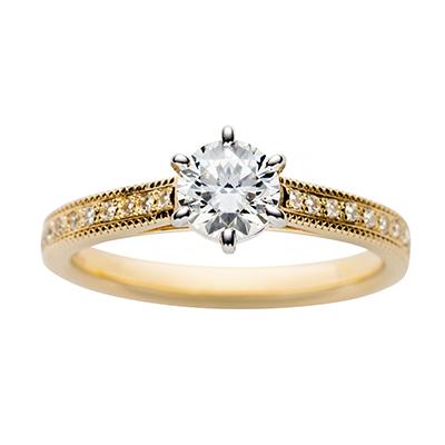 swan 婚約指輪 シンプル エレガント アンティーク ストレート イエローゴールド
