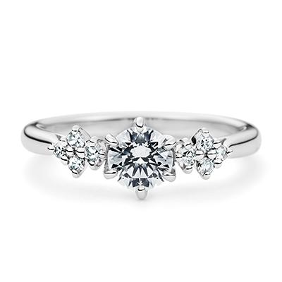 Crystal 婚約指輪 エレガント ストレート プラチナ