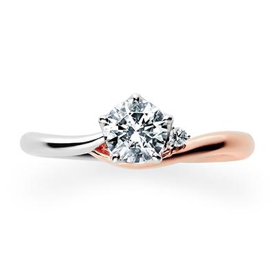 Lune 婚約指輪 個性派 S字(ウェーブ) プラチナ ピンクゴールド コンビ