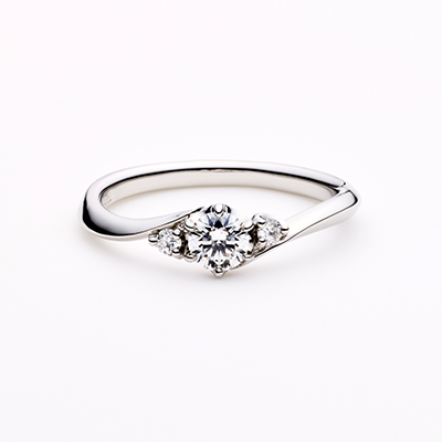 LIEN 婚約指輪 エレガント S字(ウェーブ) プラチナ
