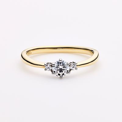 LUMEN 婚約指輪 エレガント アンティーク V字(ウェーブ) イエローゴールド コンビ パラジウム