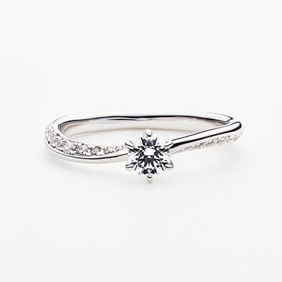 LUNETTA 婚約指輪 シンプル エレガント S字(ウェーブ) プラチナ