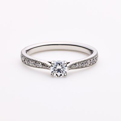 SPROSS 婚約指輪 エレガント アンティーク ストレート パラジウム