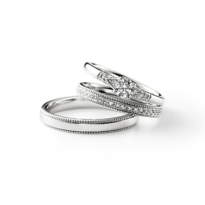 Grow 婚約指輪 セットリング エレガント アンティーク  プラチナ