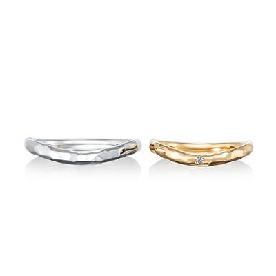 plaisir 結婚指輪 アンティーク 個性派 ストレート 幅広 イエローゴールド ホワイトゴールド
