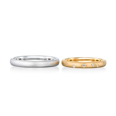meteore 結婚指輪 アンティーク 個性派 S字(ウェーブ) イエローゴールド ホワイトゴールド