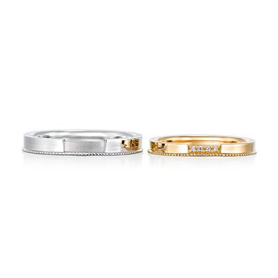 le pont 結婚指輪 アンティーク ストレート イエローゴールド ホワイトゴールド