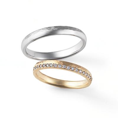 Moon Light 結婚指輪 シンプル キュート 個性派 ストレート プラチナ イエローゴールド