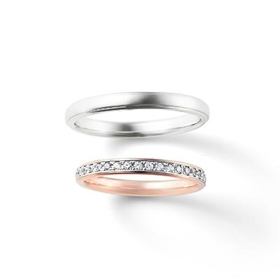 HARMONY 結婚指輪 シンプル キュート ストレート エタニティ プラチナ ピンクゴールド コンビ