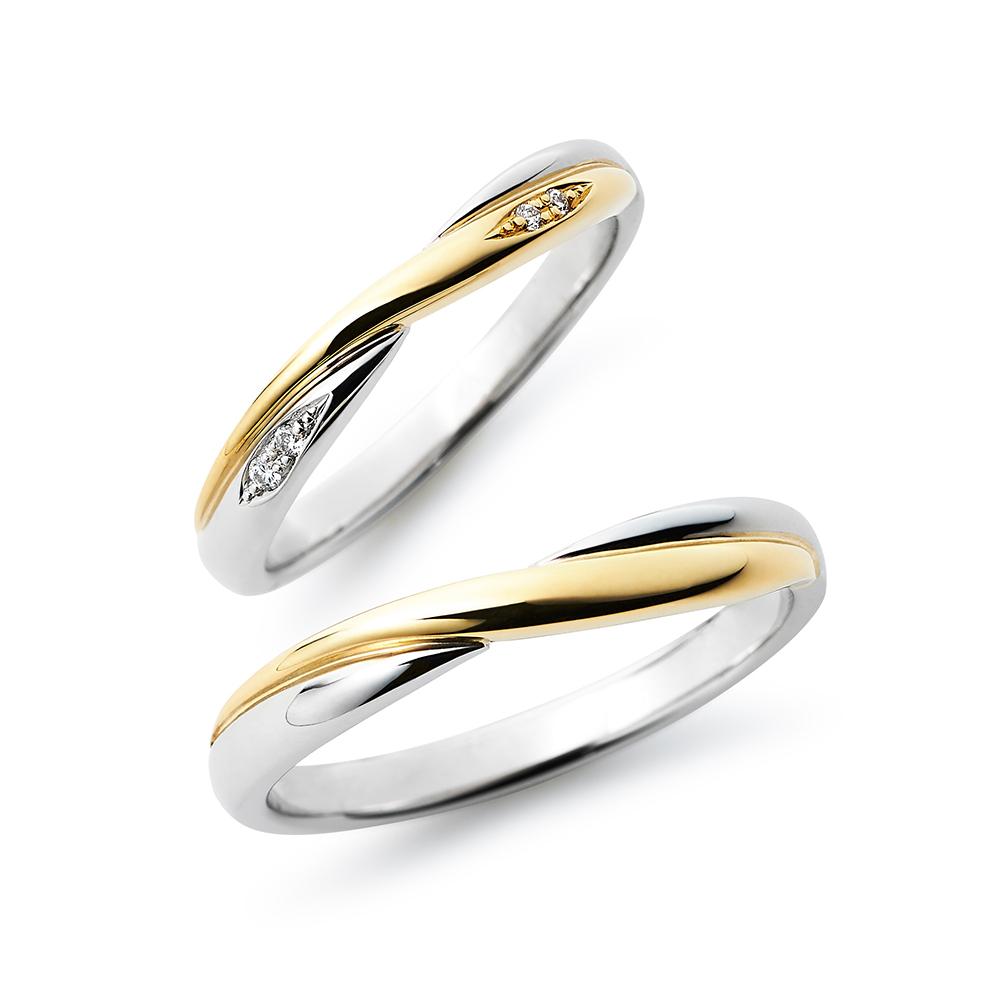 Moon 結婚指輪 シンプル エレガント S字(ウェーブ) プラチナ イエローゴールド コンビ