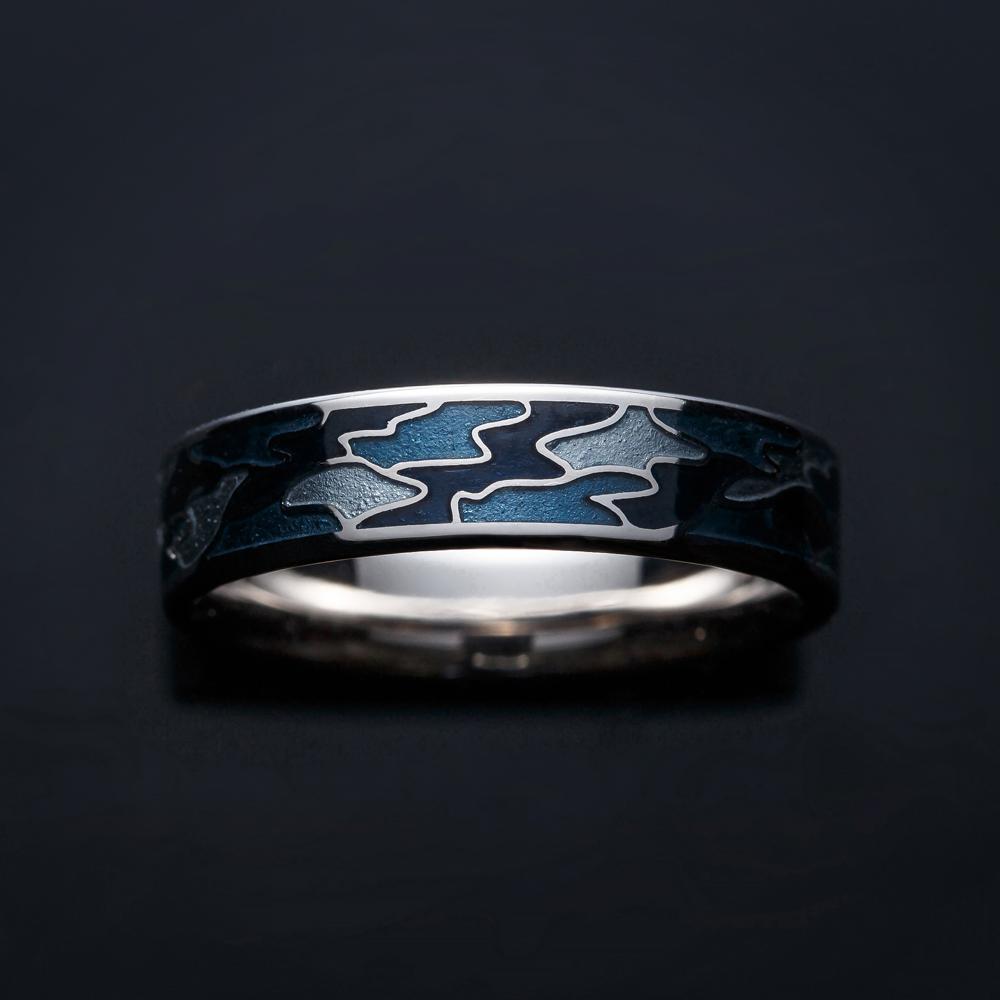SHO 結婚指輪 個性派 ストレート 幅広 ホワイトゴールド