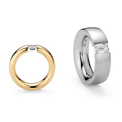 SPANNRING®︎ HARMONY 婚約指輪 シンプル 個性派 ストレート プラチナ イエローゴールド